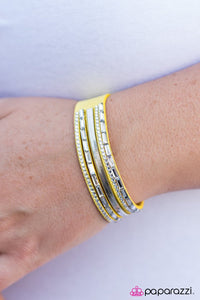 "Paparazzi ""Hit the Lights"" Yellow Suede White Rhinestone Wrap Bracelet Paparazzi Jewelry"