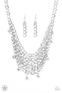 "Paparazzi ""Fishing For Compliments"" BLOCKBUSTER Clear Rhinestone Silver Necklace & Earring Set Paparazzi Jewelry"