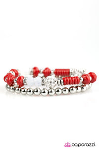 "Paparazzi ""My Dance Card Is Full"" Silver and Red Beads Rhinestone Bracelet Paparazzi Jewelry"
