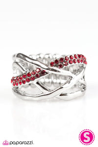 "Paparazzi ""Castle on the Hill""  Hammered Bars Red Rhinestones Silver Tone Ring Paparazzi Jewelry"