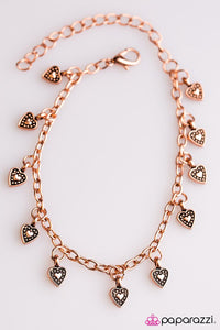"Paparazzi ""Closer to the Heart"" Antiqued Shimmer Hearts Copper Bracelet Paparazzi Jewelry"