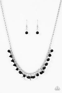"Paparazzi ""Prehistoric Prima Donna"" Black  stone Silver Tone Necklace & Earring Set Paparazzi Jewelry"