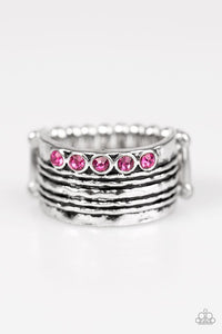 "Paparazzi ""Drink it In"" Silver Tone Pink Rhinestones Ring Paparazzi Jewelry"