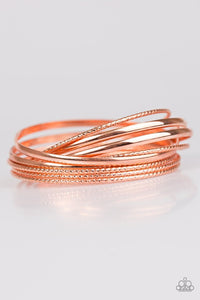 "Paparazzi ""Drop A Bombshell"" Copper Bangles Stacked Bracelet Paparazzi Jewelry"