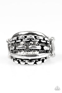 "Paparazzi ""A CHIC Reaction""  Stacked Chains Links Silver Tone Ring Paparazzi Jewelry"