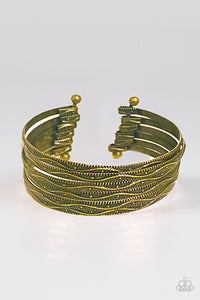"Paparazzi ""River Dance"" Brass VINTAGE VAULT Stacked Layered Etched Cuff Bracelet Paparazzi Jewelry"