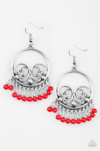 "Paparazzi ""A Way of Wildlife"" Red Bead Ornate Silver Earrings Paparazzi Jewelry"