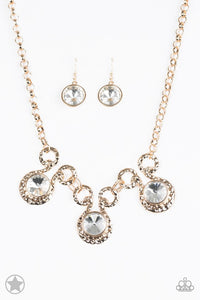 "Paparazzi ""Hypnotized"" BLOCKBUSTER Oversized Rhinestones in Elegant Gold Tone Necklace & Earring Set Paparazzi Jewelry"