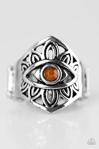 "Paparazzi ""That's What EYE Want!"" Brown Bead Tribal Eye Design Silver Tone Ring Paparazzi Jewelry"