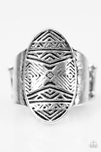 "Paparazzi ""Tiki Tahiti"" Tribal Etched Pattern Silver Tone Ring Paparazzi Jewelry"