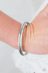 "Paparazzi ""Rogue Waves"" Silver Tone Wavy Pattern Bangle Bracelet Paparazzi Jewelry"