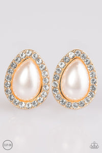 "Paparazzi ""Must Be A Lady"" White Rhinestones Pearl Gold Tone Clip On Earrings Paparazzi Jewelry"