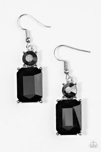 "Paparazzi ""Hustle & Shine"" Black Rhinestone Emerald Cut Earrings Paparazzi Jewelry"