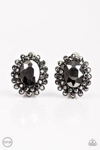 "Paparazzi ""Starry Shine"" Silver Frame Hematite Rhinestone Clip-On Earrings Paparazzi Jewelry"