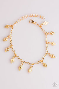 "Paparazzi ""Diamond Dunes"" Gold Geometric Charms Adjustable Bracelet Paparazzi Jewelry"