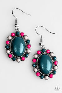 "Paparazzi ""Floral Fest"" Multi Pink Gray Blue Beads Stone Silver Tone Earrings Paparazzi Jewelry"
