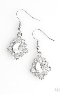 "Paparazzi ""Rich and Regal"" White Rhinestone Silver Tone Earrings Paparazzi Jewelry"
