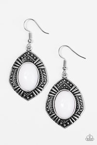 "Paparazzi ""Tribal Trend"" White Bead Tribal Frame Silver Tone Earrings Paparazzi Jewelry"