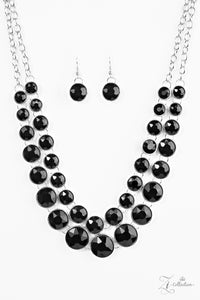 "Paparazzi ""Iconic"" Black VINTAGE VAULT Rhinestone Silver Necklace & Earring Set Zi Collection Paparazzi Jewelry"