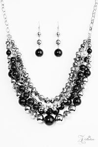 "Paparazzi ""Fame"" Black Silver Hematite Necklace & Earring Set Zi Collection Paparazzi Jewelry"