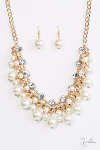 "Paparazzi ""Idolize"" VINTAGE VAULT Gold Faux Pearl Rhinestone Necklace & Earring Set Zi Collection Paparazzi Jewelry"