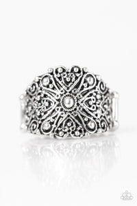 "Paparazzi ""Radiantly Rustic"" Antiqued Shimmer Filigree Silver Tone Ring Paparazzi Jewelry"