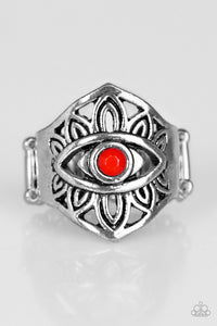 "Paparazzi ""That's What EYE Want!"" Red Bead Tribal Eye Design Silver Tone RIng Paparazzi Jewelry"