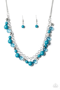 "Paparazzi ""Wander With Wonder"" Blue Beading Silver Necklace & Earring Set Paparazzi Jewelry"