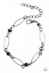 "Paparazzi ""The Right Time"" Black Hematite Rhinestone Gunmetal Bracelet Paparazzi Jewelry"