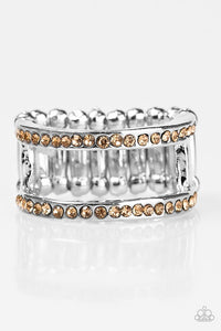"Paparazzi ""Surrender The Sparkle"" Brown Topaz Rhinestone Silver Ring Paparazzi Jewelry"