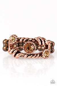 "Paparazzi ""Runways and Rhinestones"" Topaz Rhinestone Copper Ring Paparazzi Jewelry"