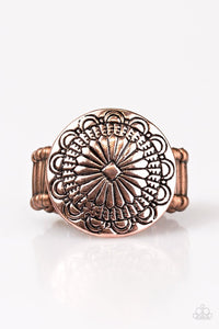 "Paparazzi ""Seasonal Spinster"" Copper Frame Floral Pattern Ring Paparazzi Jewelry"