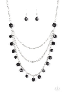 "Paparazzi ""You The GLAM!"" Black Beaded Silver Tone Necklace & Earring Set Paparazzi Jewelry"