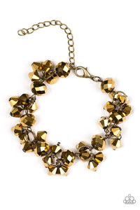 "Paparazzi ""Stop and Star"" Brass Aurum Beading Rhinestone Bracelet Paparazzi Jewelry"