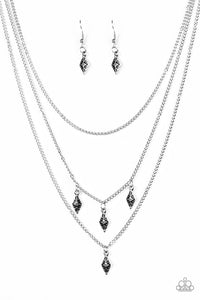 "Paparazzi ""Rural Rarity"" Silver Frame Fringe Necklace & Earring Set Paparazzi Jewelry"