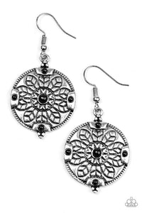 "Paparazzi ""Second Spring"" Black Bead Floral Pattern Earrings Paparazzi Jewelry"