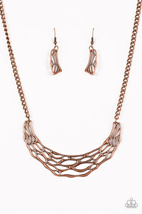 "Paparazzi ""Fashionably Fractured"" Copper Plate Shattered Design Necklace & Earring Set Paparazzi Jewelry"