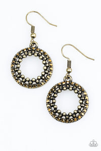 "Paparazzi ""Light The Way"" Brass Rhinestone Studded Earrings Paparazzi Jewelry"