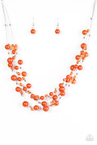 "Paparazzi ""Set The World On WIRE"" Orange Bead Silver Accented Wire Necklace & Earring Set Paparazzi Jewelry"