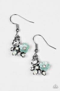 "Paparazzi ""Happiness Blooms From Within"" Green Flower White Rhinestone Earrings Paparazzi Jewelry"