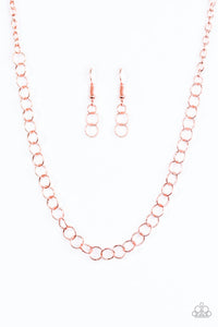 "Paparazzi ""Try On For Size"" Copper Shiny Link Necklace & Earring Set Paparazzi Jewelry"