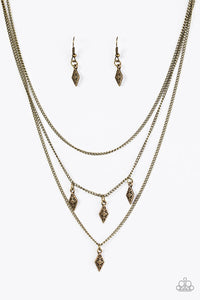 "Paparazzi ""Rural Rarity"" Brass Frame Fringe Necklace & Earring Set Paparazzi Jewelry"
