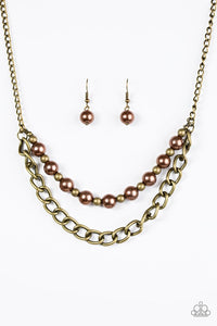 "Paparazzi ""Glam and Grind"" Brown and Brass Bead Necklace & Earring Set Paparazzi Jewelry"
