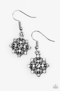 "Paparazzi ""Just Queenin"" White Rhinestone Silver Tone Earrings Paparazzi Jewelry"