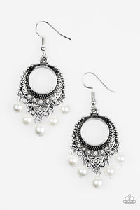 "Paparazzi ""Uncatchable"" White Pearly Bead Silver Filigree Earrings Paparazzi Jewelry"