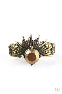 "Paparazzi ""Electric Eclipse"" Brass Aurum Gem Sunburst Ring Paparazzi Jewelry"