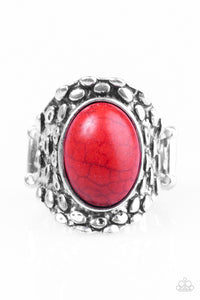 "Paparazzi ""Jungle Glam"" Red Stone Antiqued Silver Tone Ring Paparazzi Jewelry"