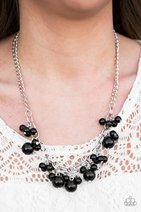 "Paparazzi ""Celebrity Treatment"" Black Bead Fringe Silver Necklace & Earring Set Paparazzi Jewelry"