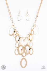 "Paparazzi ""A Golden Spell"" BLOCKBUSTER Gold Rings and Chain Necklace & Earring Set Paparazzi Jewelry"