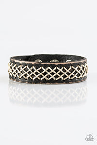 "Paparazzi ""SURFS You Right!"" Black Leather White Cording Urban Wrap Bracelet Unisex Paparazzi Jewelry"